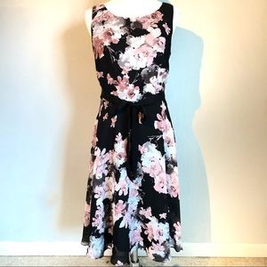 S.L. Fashions Black Pink Floral Flowy Sundress, 10